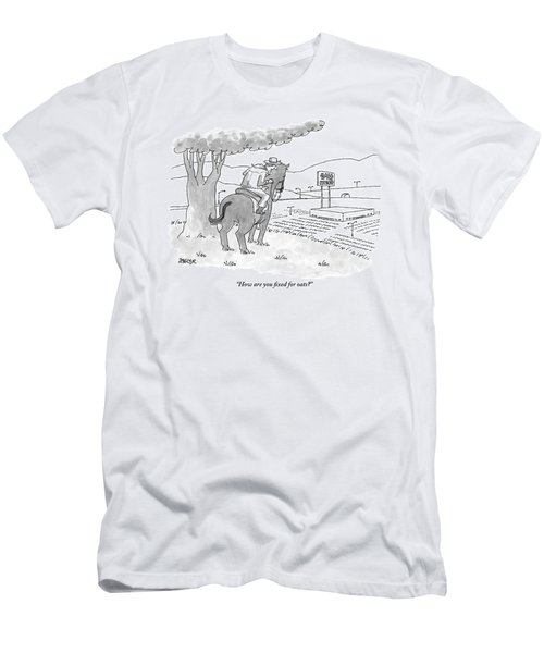 A Cowboy In The Saddle Addresses His Horse Men's T-Shirt (Athletic Fit)