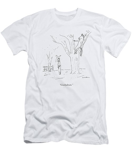 A Cowboy Talks To His Horse In A Tree Men's T-Shirt (Athletic Fit)