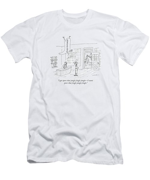A Cowboy Talks To The Shopkeeper Of A Boot Spurs Men's T-Shirt (Athletic Fit)