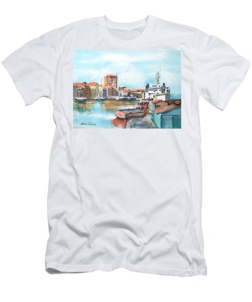 A Curacao Morning Men's T-Shirt (Slim Fit) by Debbie Lewis