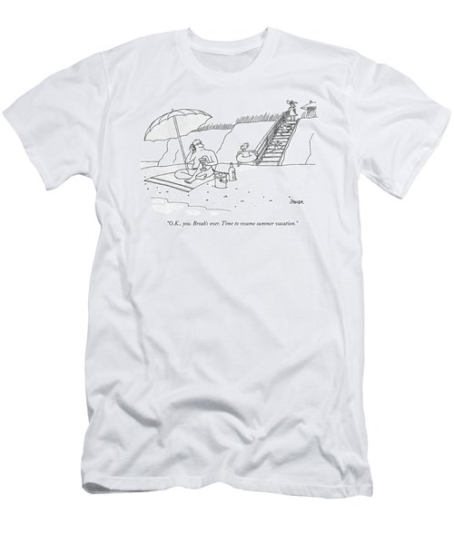 A Dad Seated Beneath An Umbrella At The Beach Men's T-Shirt (Athletic Fit)