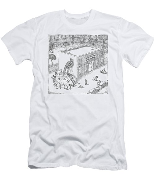 A Day Care Is Seen With Children Riding Men's T-Shirt (Athletic Fit)