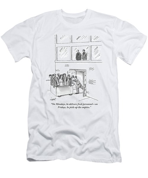 A Delivery Man Pushes A Cart Full Of Zombie-like Men's T-Shirt (Athletic Fit)