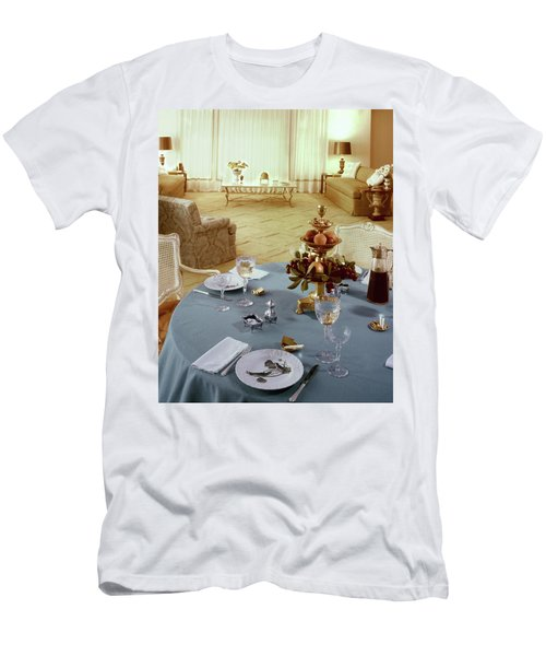 A Dining Room With A Blue Tablecloth And Ornate Men's T-Shirt (Athletic Fit)