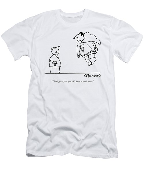 A Doctor Speaks To A Superhero With A Lightning Men's T-Shirt (Athletic Fit)