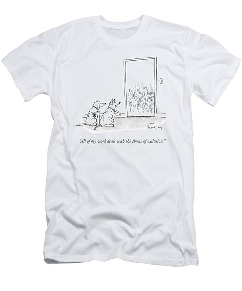 A Dog Speaks To Another Dog In Front Of A Closed Men's T-Shirt (Athletic Fit)