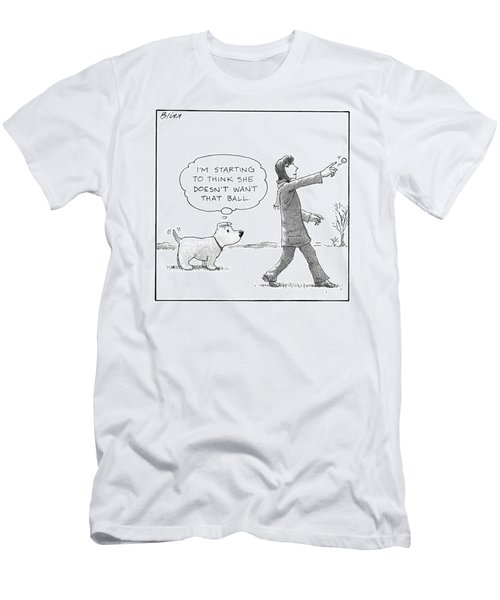 A Dog Thinks To Himself As A Woman Throws A Ball Men's T-Shirt (Athletic Fit)