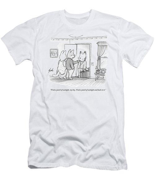 A Family Of Three Cats In A House Men's T-Shirt (Athletic Fit)