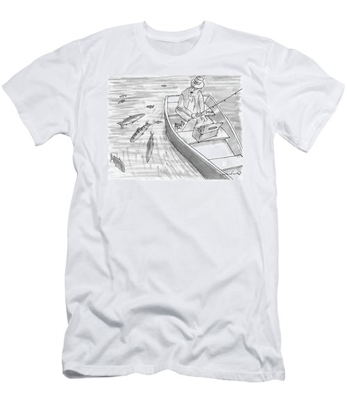 A Fisherman On A Rowboat Looks At The Fish Men's T-Shirt (Athletic Fit)