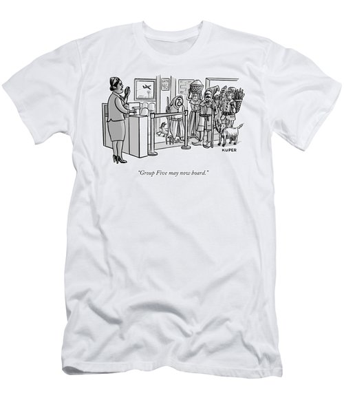 A Flight Attendant About To Board A Group Men's T-Shirt (Slim Fit) by Peter Kuper