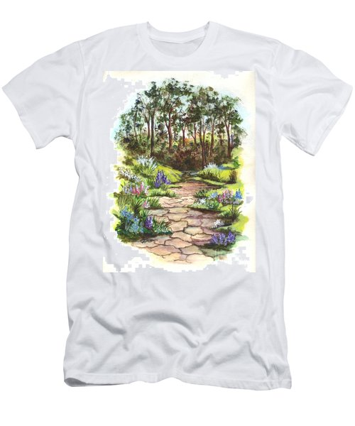 Men's T-Shirt (Slim Fit) featuring the painting Down The Garden Pathway  by Carol Wisniewski