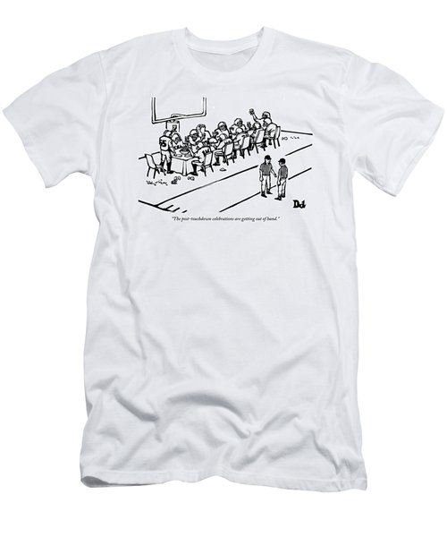 A Football Team Enjoys A Seated Dinner With Wine Men's T-Shirt (Athletic Fit)