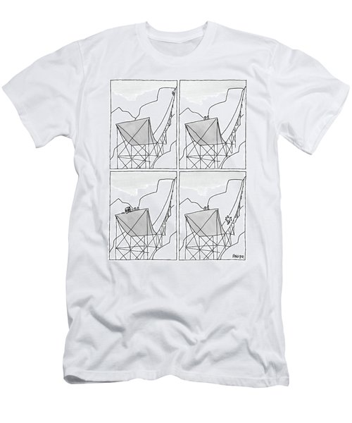 A Four-paneled Cartoon Shows A Skier On A Huge Men's T-Shirt (Athletic Fit)