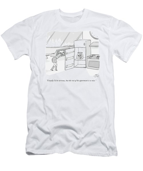 A Girl Who Is Talking On The Phone Opens A Fridge Men's T-Shirt (Athletic Fit)