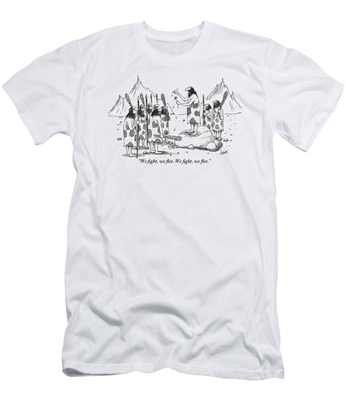 A Group Of Cavemen Gather Around A Leader Men's T-Shirt (Athletic Fit)