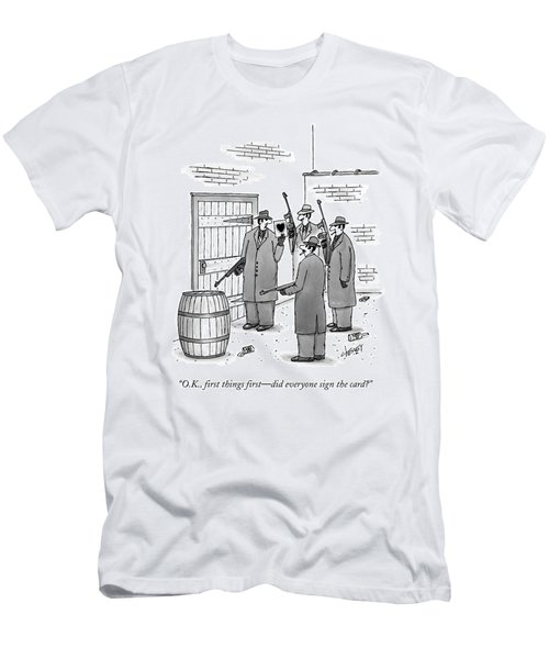 A Group Of Gangsters Stand With Machine Guns Men's T-Shirt (Athletic Fit)