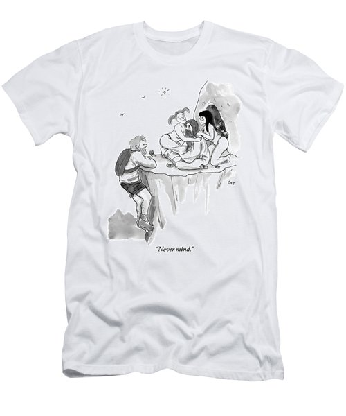 A Guru Is Sitting Outside A Cave With Two Naked Men's T-Shirt (Athletic Fit)