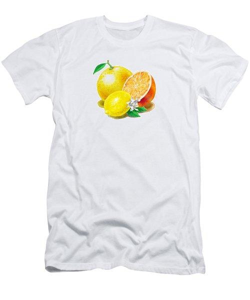 A Happy Citrus Bunch Grapefruit Lemon Orange Men's T-Shirt (Slim Fit) by Irina Sztukowski