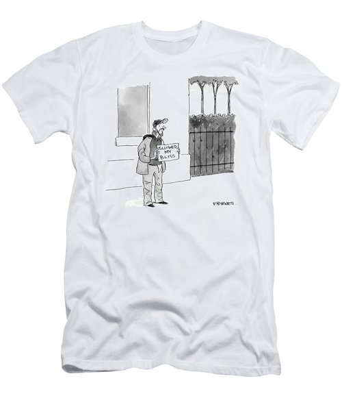 A Homeless Man Holds A Sign That Says 'followed Men's T-Shirt (Athletic Fit)