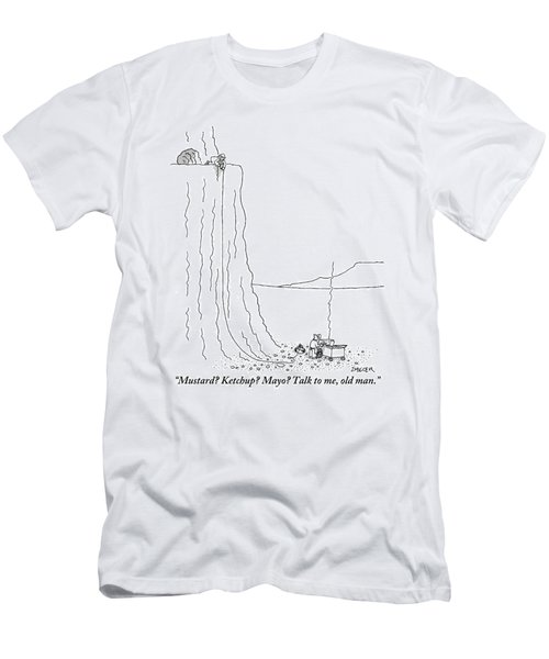 A Hot Dog Vender At The Foot Of A Mountain Men's T-Shirt (Athletic Fit)