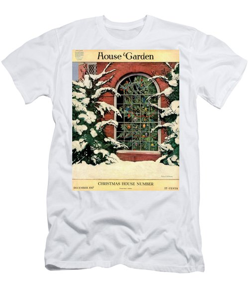 A House And Garden Cover Of A Christmas Tree Men's T-Shirt (Athletic Fit)