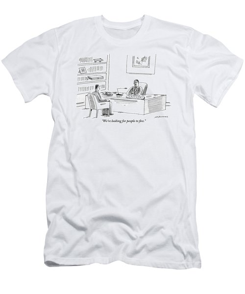 A Human Resources Office Worker Speaks To An Men's T-Shirt (Athletic Fit)