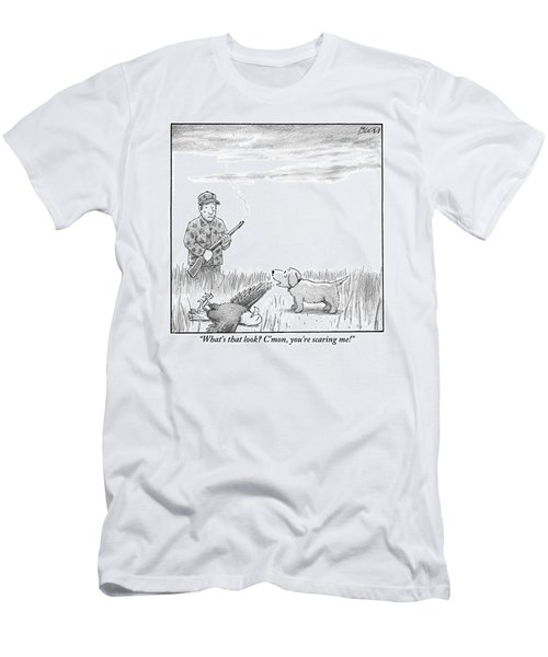 A Hunting Dog Addresses His Master Who Looks Men's T-Shirt (Athletic Fit)