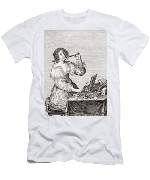 A Lady At Her Toilette, After A 17th Century Engraving By Le Blond.  From Illustrierte Men's T-Shirt (Athletic Fit)