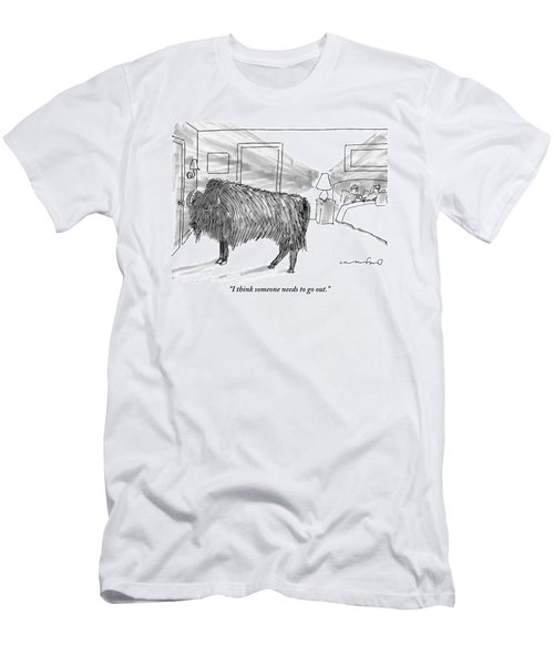 A Large Buffalo Stands Near The Door Men's T-Shirt (Athletic Fit)