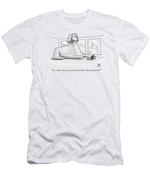 A Large Sphinx Sits In Front Of A Desk Men's T-Shirt (Athletic Fit)