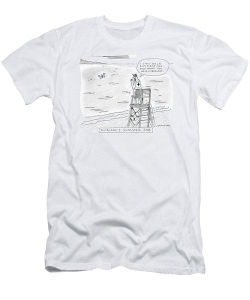 A Lifeguard Shouts At A Drowning Man Men's T-Shirt (Athletic Fit)