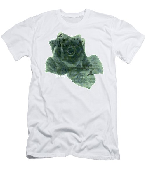 Men's T-Shirt (Slim Fit) featuring the photograph A Little Bird Whispered To Me Digital Rose  by Sandra Foster