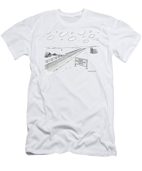 A Long, Country Road Is Pictured With A Barn Men's T-Shirt (Athletic Fit)