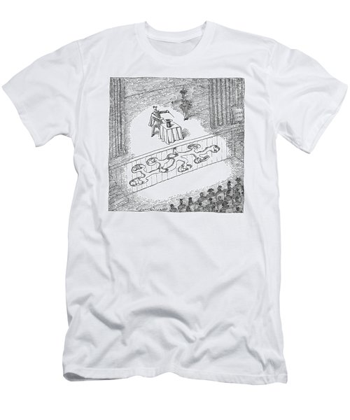 A Magician Is Seen On Stage Men's T-Shirt (Athletic Fit)