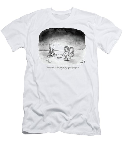 A Man And 3 Children Sit Around A Fire Men's T-Shirt (Athletic Fit)