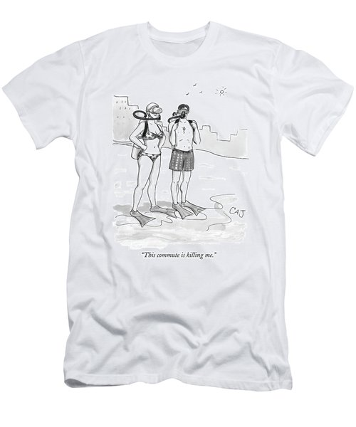 A Man And A Woman In Swimsuits And Diving Gear Men's T-Shirt (Athletic Fit)