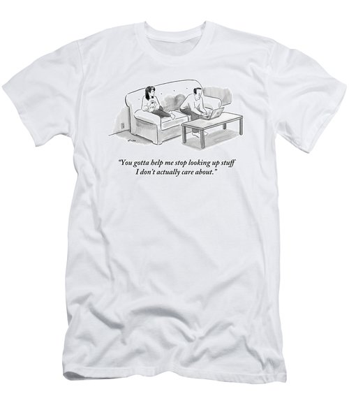A Man And A Woman Sit On A Couch.  The Man Men's T-Shirt (Athletic Fit)