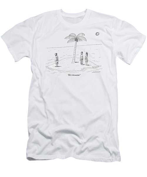 A Man And A Woman Stand On One Coast Of A Tiny Men's T-Shirt (Athletic Fit)