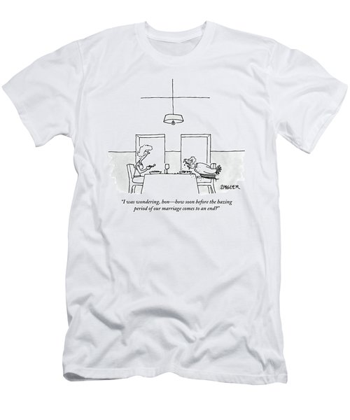 A Man And Woman Eat Dinner.  The Man's Hands Men's T-Shirt (Athletic Fit)
