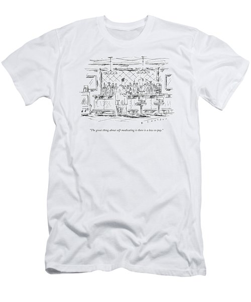 A Man At A Bar Talking To The Bartender Men's T-Shirt (Athletic Fit)