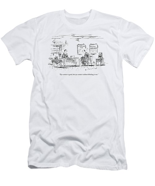 A Man Behind A Desk Gives The Man Sitting Men's T-Shirt (Athletic Fit)