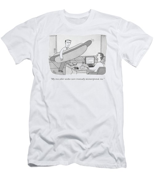 A Man Carrying A Giant Hot Dog Speaks To Another Men's T-Shirt (Athletic Fit)