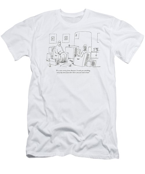 A Man Explains To His Wife In Their Living Room Men's T-Shirt (Athletic Fit)