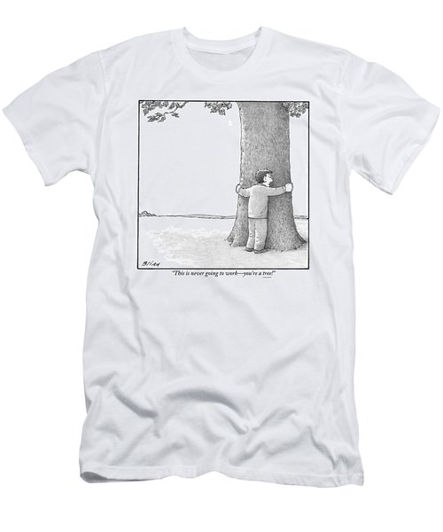 A Man Hugging A Tree Speaks To It Forlornly Men's T-Shirt (Athletic Fit)