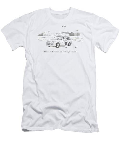 A Man In A Minivan Speaks To A Woman At A Car Men's T-Shirt (Athletic Fit)