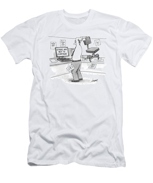A Man In An Office Cubicle Holds A Chair Men's T-Shirt (Athletic Fit)