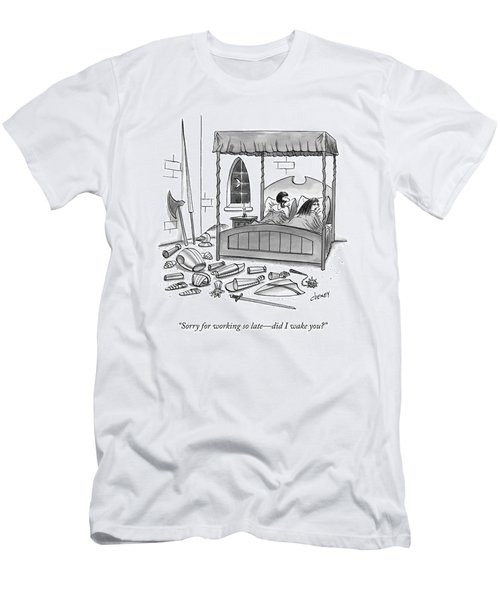 A Man, In Bed With His Wife, Speaks To Her Men's T-Shirt (Athletic Fit)
