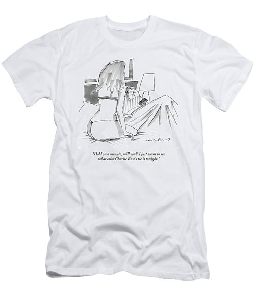 A Man In Bed With Remote Control  In Hand Ignores Men's T-Shirt (Athletic Fit)