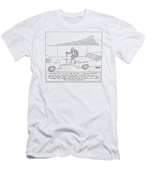 A Man Is At A Parking Meter And The Text Box Men's T-Shirt (Athletic Fit)