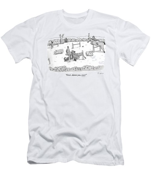 A Man Is Riding A Horse In A Competition. Men's T-Shirt (Athletic Fit)